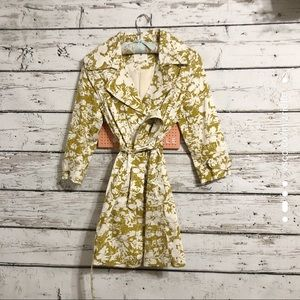 Forever 21 Mustard Yellow and Cream Trench Coat